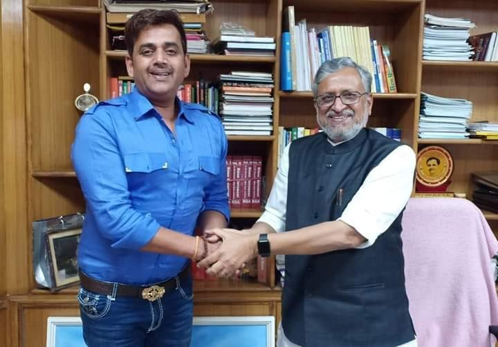 Ravi Kishan met Deputy Chief Minister Sushil Modi on the issue of promotion of Bhojpuri